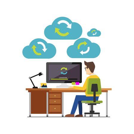 Internet cloud sync media devices concept. Cloud computing. Technology background illustration for web banner, web element or inforgraphics element. Illustration