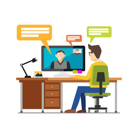 Video call chatting communication concept. Web camera video call, online conference concept illustration for web banner, web element or infographics element.