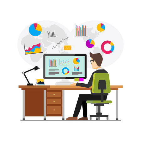Businessman working and analyzing financial statistics. Data analysis concept.. Business intelligence technology. Business analysis concept for web banner, web element, or infographics Vettoriali