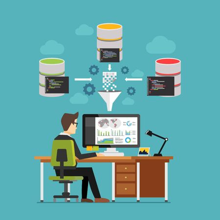 business analysis: Business intelligence dashboard technology concept. Professional business person working and analyzing financial statistics. Business analysis concept for web banner, web element, or infographics