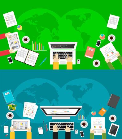 Banner voor zakelijke achtergrond. Platte ontwerp illustratie concepten voor zakelijke benodigdheden, financiën, management, teamwork.