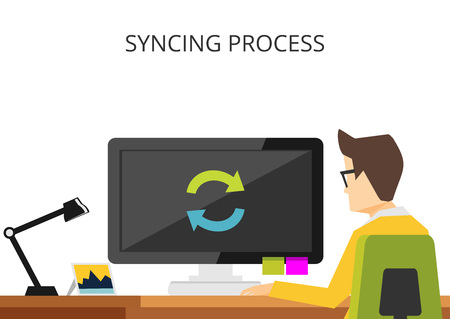 booting: Waiting syncing process concept illustration