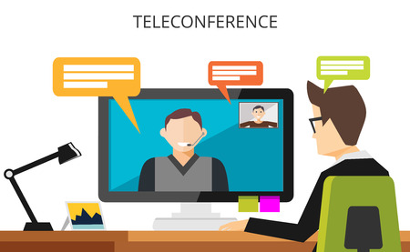 Teleconference concept. Video communication technology illustration. Video call. Businessman having teleconference. Çizim