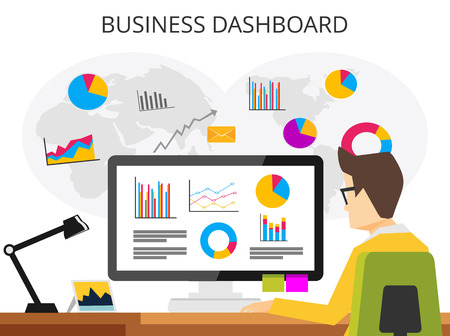 marketing research: Business analyst. Professional business man analyzing business growth by business dashboard. Marketing research concept flat design for web banner , web element , or book cover