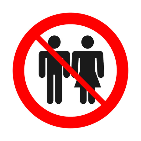 Sign no man and woman together. No couple. Alone concept. Illustration