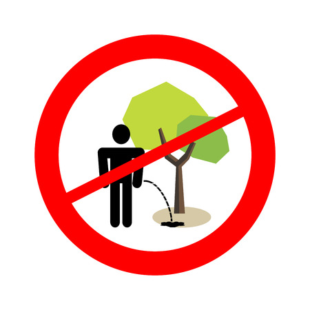 No pee under the tree sign. Prohibition.