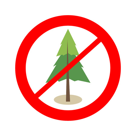 Free from tree area sign. No forest. Illustration