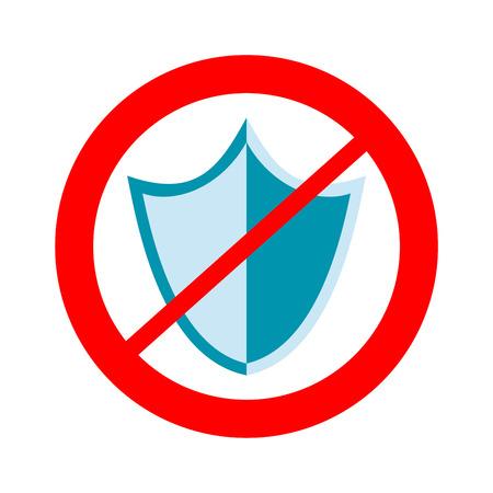 unprotected: No protection sign. Unsafe, danger, harm sign. Illustration
