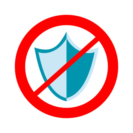 No protection sign. Unsafe, danger, harm sign. Illustration