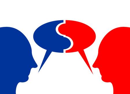 Exchange an idea. Discussion or communication concept. Brainstorming concept.