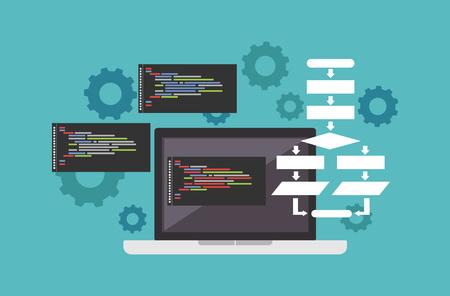debug: Code or programming concept. Banner illustration of application development concept. Illustration