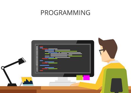 Programming or coding banner flat design concept