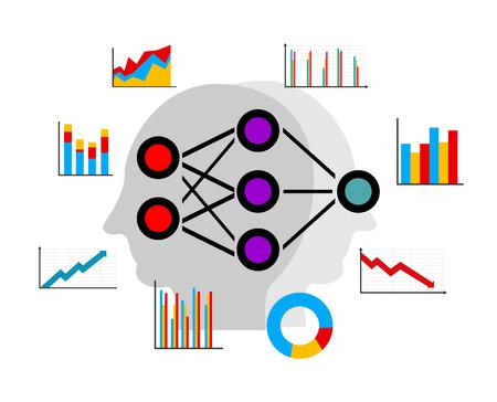 人工ニューラル ネットワークの深い学習、データ マイニング パターンを予測します。  イラスト・ベクター素材