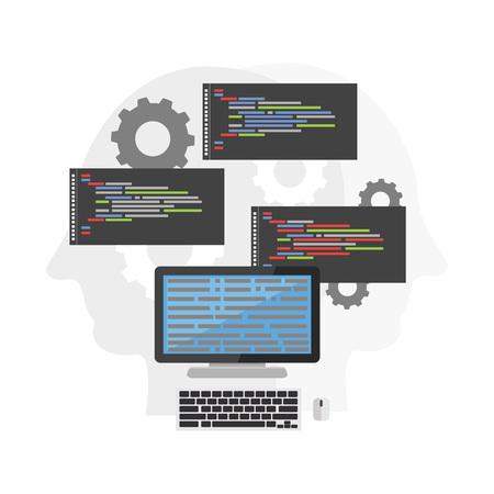 debug: Computer algorithm. Computer processing. Coding or programming Illustration