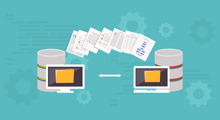 Data Migration.Data management. Transfer file concept.