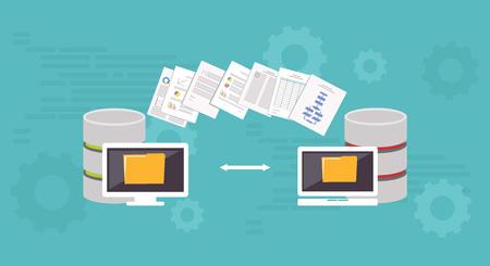 Migracja danych.Data zarządzania. Koncepcja przesyłania plików. Ilustracje wektorowe