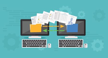 Copy File, Data Exchange. Transfer file concept 일러스트