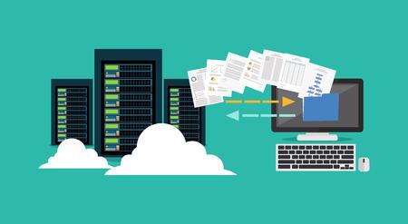 Migracja. Koncepcja tworzenia kopii zapasowych. Kopiowanie pliku. Serwer. Centrum danych. Technologia synchronizacji baz danych. Ilustracje wektorowe