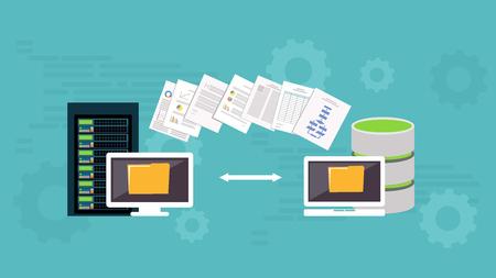 Migration. Backup concept. Copying file. Server. Data Center. Database synchronize technology. Çizim