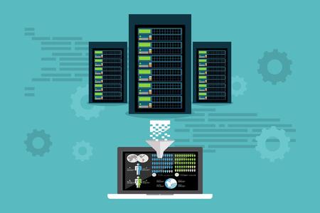 Big data. Server. Data mining. Extract information. Dashboard. Data Center. Database Synchronize Technology.