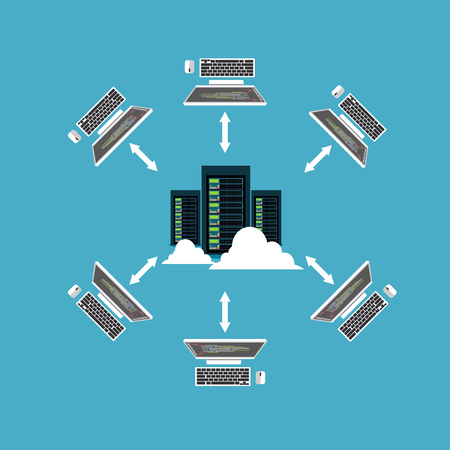 Distributed system. Client and server communication. File sharing or networking concept.