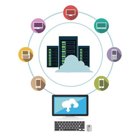 Data center. Cloud storage. Data sharing. Data download or upload concept.