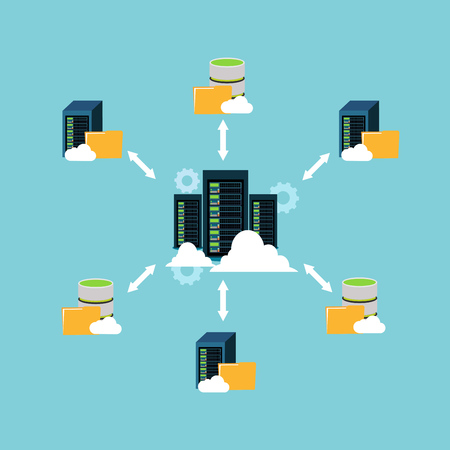 network topology: File sharing, data center, file management and client server communication.