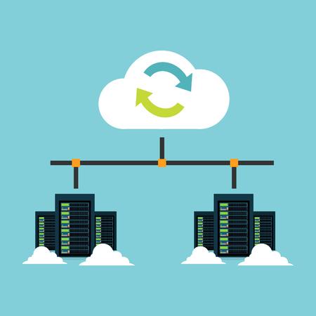 Cloud opslag. Integratie van datacenters. Synchroniseer de server. Backup. Bestanden delen concept. Stock Illustratie