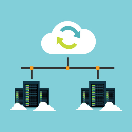 Cloud storage. Data center integration. Synchronize server. Backup. File Sharing concept. Ilustração
