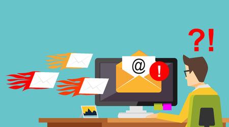 電子メールのスパム攻撃。迷惑メール。多くの電子メールの概念が表示されます。