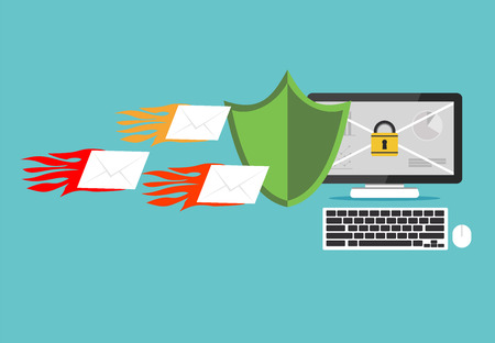Email protection. Secure communication. Email spamming. Spamming blocker. Computer attack concept.