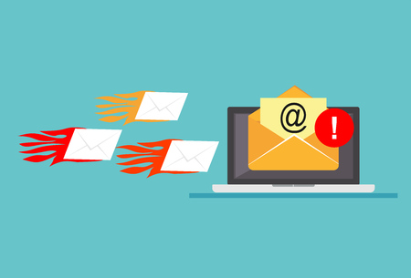 Computer error because of email spam attack. Receive many emails. Spamming email. Illustration