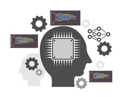 인공 지능과 기계 학습 개념의 벡터 일러스트 레이션 일러스트