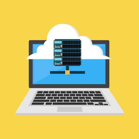 Web hosting icon or symbol. Cloud hosting. Flat design Illustration