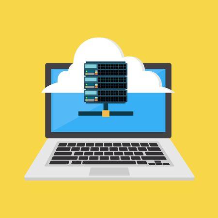 Web hosting icon or symbol. Cloud hosting. Flat design Çizim