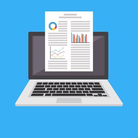 Processador de palavras. Relatório de negócios ou documento na tela do laptop
