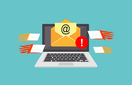Email spamming attack. Email fraud alert concept. Çizim