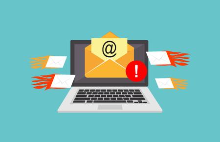 Invia email a un attacco di spamming. Concetto di avviso di frode e-mail. Vettoriali