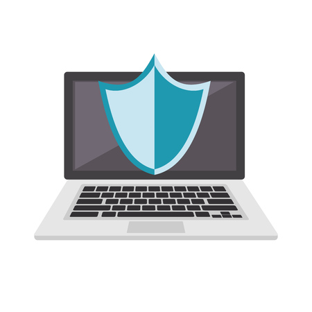 Security system on notebook concept icon or symbol. Data protection. Çizim