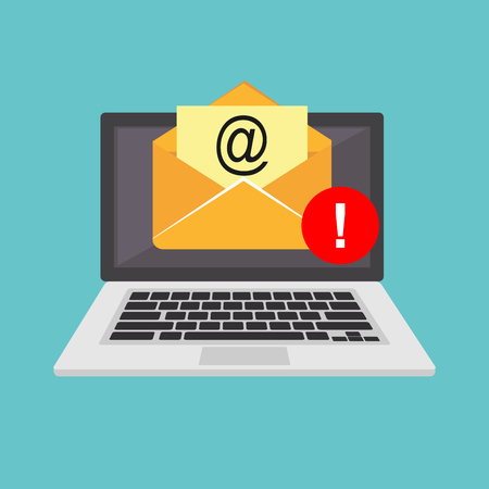 Email spamming attack. Email fraud alert concept. Vectores