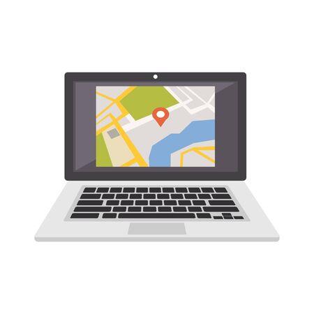 Navigation information system. GPS navigation. Digital map location icon symbol