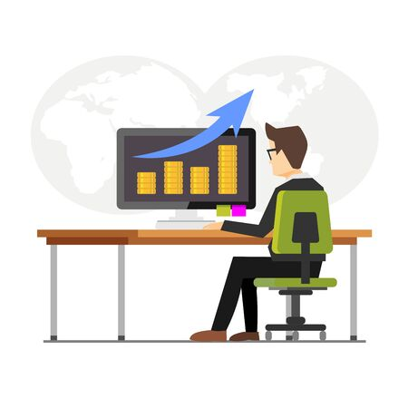 Business finance monitoring concept illustration. Business growth monitoring