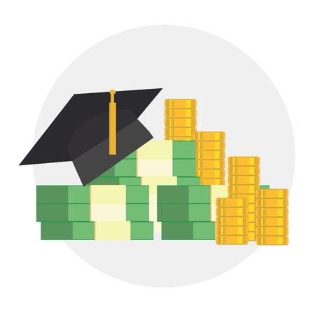 Education cost. Education scholarship money. Illustration