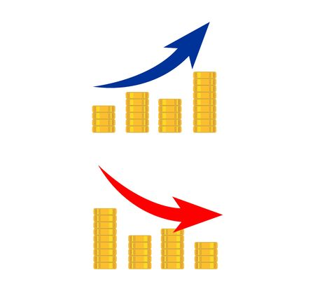Increase or decrease diagram money earning. Business growth concept icon or symbol Çizim