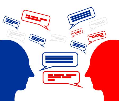 Brainstorming. Discussion. Debate. Giving argument. Communication concept.. Çizim