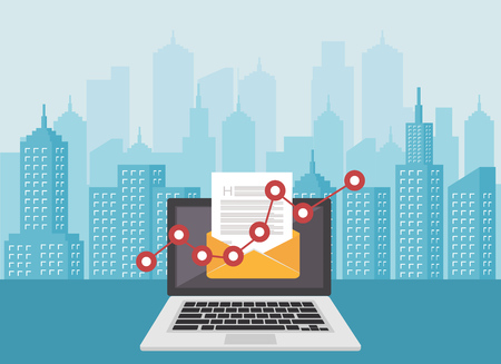 Email marketing. Newsletter. Email icon or symbol. Çizim