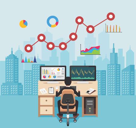 Business analyst. Businessman analyzing real estate market. Global market.