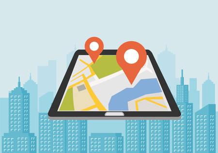 Vector illustration of smartphone with mobile navigation app on screen. Global Positioning System. GPS