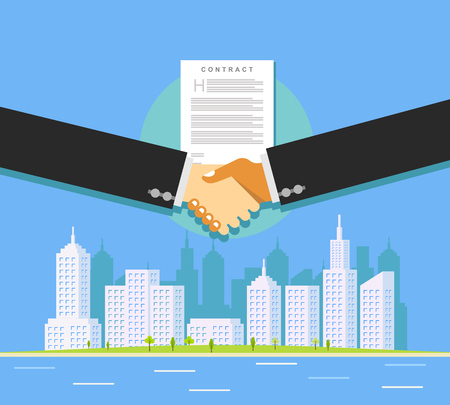 Business deal. Real estate contract deal. Business property investment. Çizim