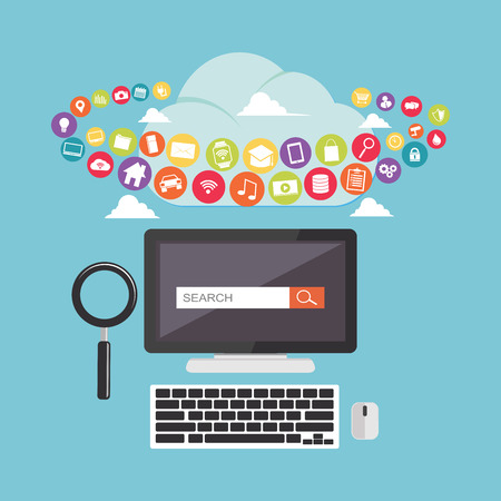 Search engine optimization. SEO. Searching internet content on the cloud. Technology background.
